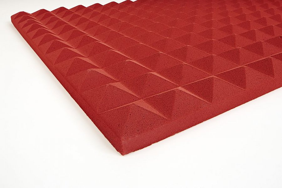 Mousse acoustique pyramidale Basotect 3 cm rouge